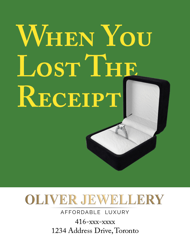 spec ad for oliver jewellery - lost receipt
